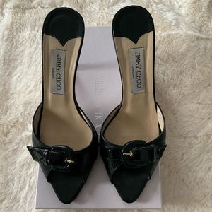 Jimmy Choo pointed toe sandals size 37.5 black